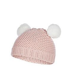 Mantaray - Baby girls' pink pom pom hat