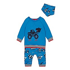 ccf691629 bluezoo - Babies' blue truck print top, bottoms and bib set