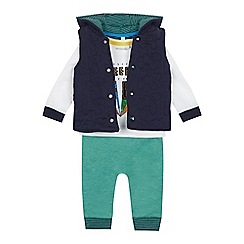 bluezoo - Babies' Green Truck Gilet, Top and Bottoms Set