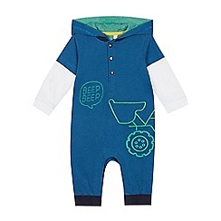 bluezoo - Babies' Blue Truck Embroidered Romper Suit