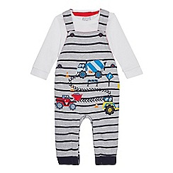 bluezoo - Baby Boys' Grey Truck Applique Dungarees and Bodysuit Set