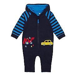 bluezoo - Babies' Navy Truck Applique Romper Suit