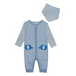 bluezoo - Babies' Blue Striped Sleepsuit and Bib