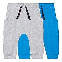bluezoo - 2 Pack Babies Blue and Grey Jogging Bottoms