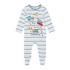 bluezoo - Baby Boys' Blue Striped 'Daddy & Me' Sleepsuit