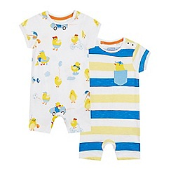 bluezoo - 2 Pack Babies' White Printed Romper Suits