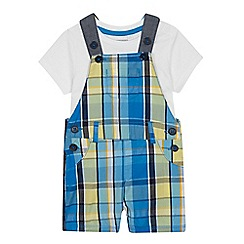 bluezoo - Baby Boys' Blue Checked Dungarees and Top Set