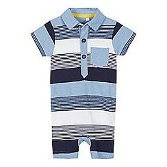bluezoo - Babies' Blue Striped Cotton Romper