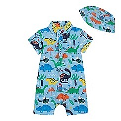 bluezoo - Baby Boys' Blue Dinosaur Print Romper Suit and Hat