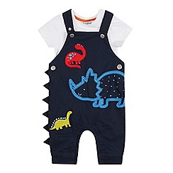bluezoo - Baby Boys' Navy Dinosaur Applique Dunagrees and Bodysuit Set