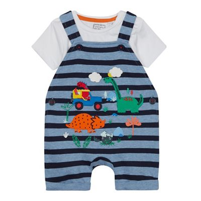 eda78d2e9eb1b bluezoo - Babies  Blue Dinosaur Applique Dungarees and Bodysuit Set