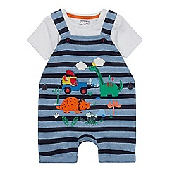 bluezoo - Babies' Blue Dinosaur Applique Dungarees and Bodysuit Set