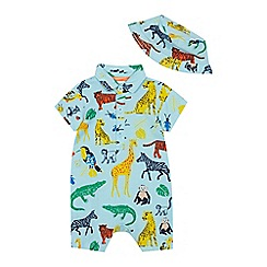 bluezoo - Baby Boys' Turquoise Safari Print Romper Suit and Hat