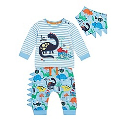 bluezoo - Baby Boys' Blue Dinosaur Top, Bottoms and Bib Set