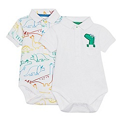 bluezoo - 2 Pack Baby Boys' White Dinosaur Polo Bodysuits