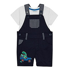 bluezoo - Baby Boys' Navy Truck Applique Checked Dungarees and Top Set