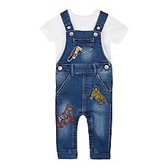 bluezoo - Babies' Blue Safari Applique Denim Dungarees and Bodysuit Set