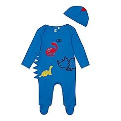 bluezoo - Babies' Blue Dinosaur Sleepsuit