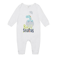 bluezoo - Babies' White 'Babysaurus' Sleepsuit