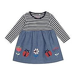 bluezoo - Baby Girls' Navy Striped Applique Dress