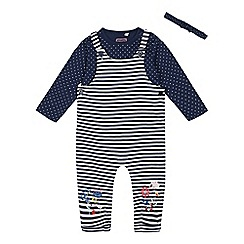 bluezoo - Babies' Navy Striped Dunagrees and Top Set