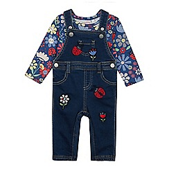 bluezoo - Babies' Navy Ladybird Dungarees and Top Set