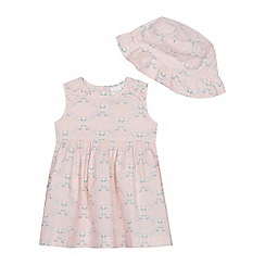 bluezoo - Baby Girls' Pink Floral Print Dress and Hat