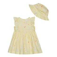 bluezoo - Baby Girls' Yellow Bunny Print Dress and Hat