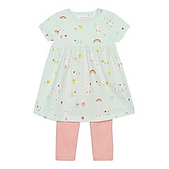 bluezoo - Babies' aqua bunny print dress and leggings set