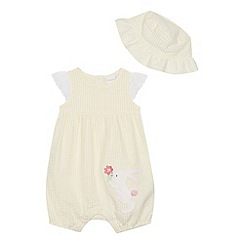 bluezoo - Baby Girls' Yellow Striped Bunny Applique Romper Suit and Hat