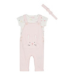 bluezoo - Baby Girls' Pink Bunny Dungarees, T-Shirt and Headband Set