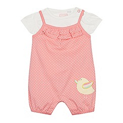 bluezoo - Baby Girls' Multicoloured Chick Applique Romper Suit and T-Shirt Set
