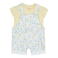 bluezoo - Baby Girls' Yellow Top and Floral Print Dungarees Set