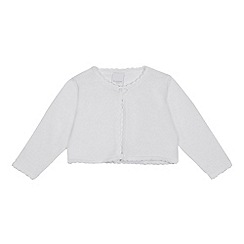 bluezoo - Baby Girls' White Scalloped Trim Cardigan