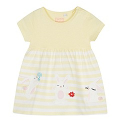 bluezoo - Baby Girls' Yellow Striped Bunny Applique Cotton Dress