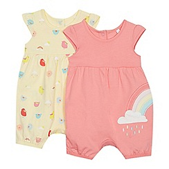 bluezoo - 2 Pack Baby Girls' Multicoloured Romper Suit