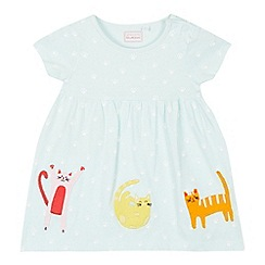 bluezoo - Baby Girls' Aqua Cat Print Dress