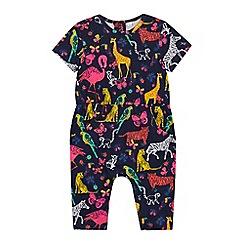 bluezoo - Baby Girls' Navy Safari Print Romper Suit