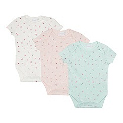 bluezoo - 3 Pack Baby Girls' Assorted Floral Print Cotton Bodysuits