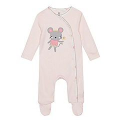 bluezoo - Baby Girls' Pink Mouse Applique Sleepsuit