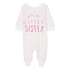 bluezoo - Baby Girls' White 'Little Sister' Sleepsuit