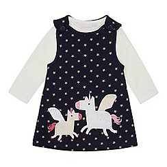 bluezoo - Baby Girls' Navy Unicorn Applique Pinny and Top Set