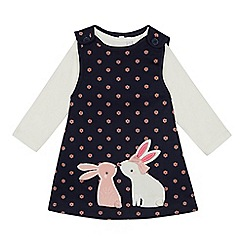 bluezoo - Baby Girls' Navy Unicorn Bunny Pinny and Top Set