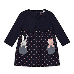 bluezoo - Baby Girls' Navy Mouse Mock Cardigan Dress
