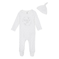 bluezoo - Babies' white 'born in 2019' sleepsuit and hat