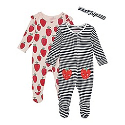 bluezoo - 2 Pack Babies' Assorted Strawberry Print and Striped Sleepsuits