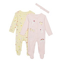 bluezoo - 2 Pack Babies' Pink and Yellow Bunny and Chick Sleepsuits