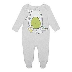 bluezoo - Babies' Grey Dinosaur Sleepsuit