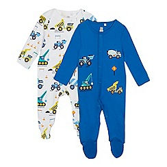 bluezoo - 2 Pack Baby Boys' Blue Transport Romper Suits