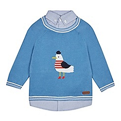 J by Jasper Conran - Baby Boy's Blue Seagull Mock Jumper